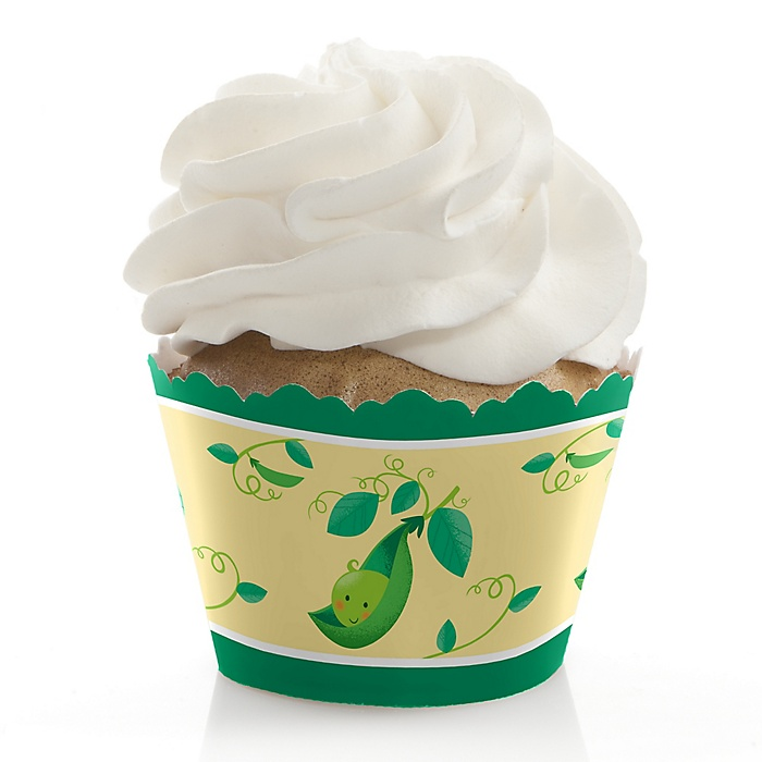 Sweet Pea in a Pod - Baby Shower or First Birthday Decorations - Party Cupcake Wrappers - Set of 12