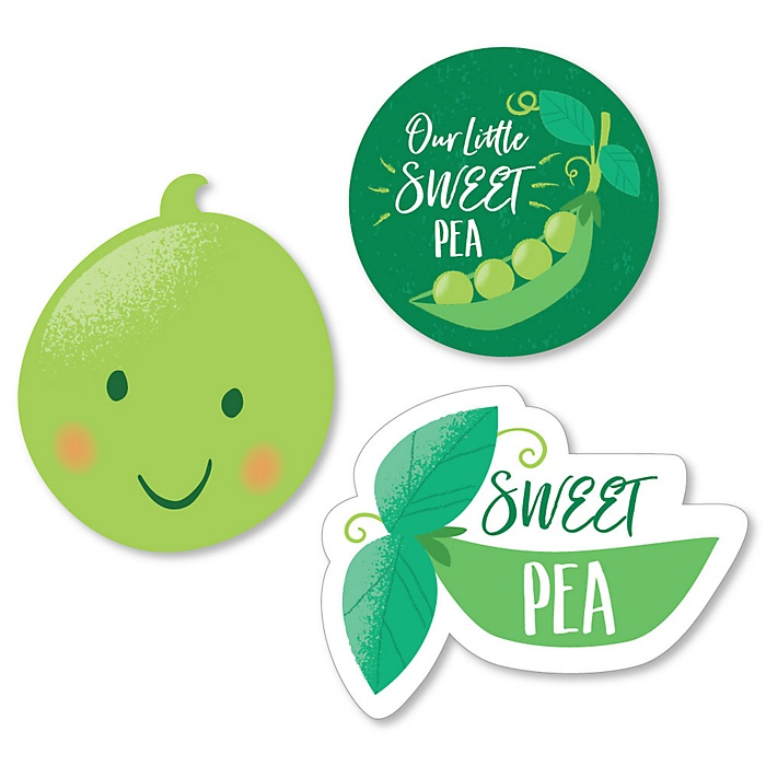 Sweet Pea in a Pod - DIY Shaped Baby Shower or First Birthday Party Cut-Outs - 24 ct