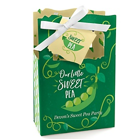 Sweet Pea in a Pod - Personalized Baby Shower or First Birthday Party Favor Boxes - Set of 12