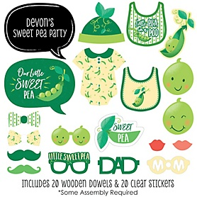 Sweet Pea in a Pod - 20 Piece Baby Shower or First Birthday Party Photo Booth Props Kit