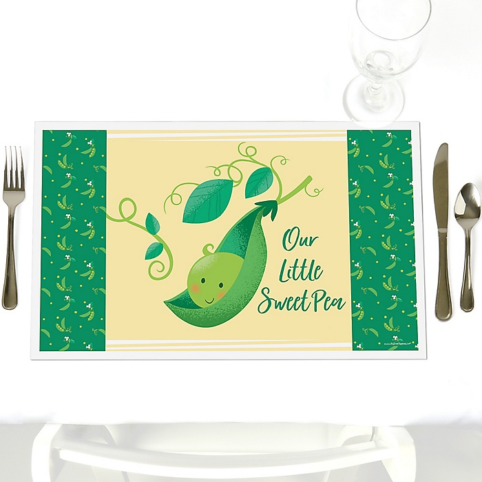 Sweet Pea in a Pod - Party Table Decorations - Baby Shower or First Birthday Party Placemats - Set of 12