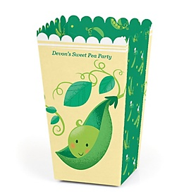 Sweet Pea in a Pod - Personalized Baby Shower or First Birthday Party Popcorn Favor Treat Boxes - Set of 12