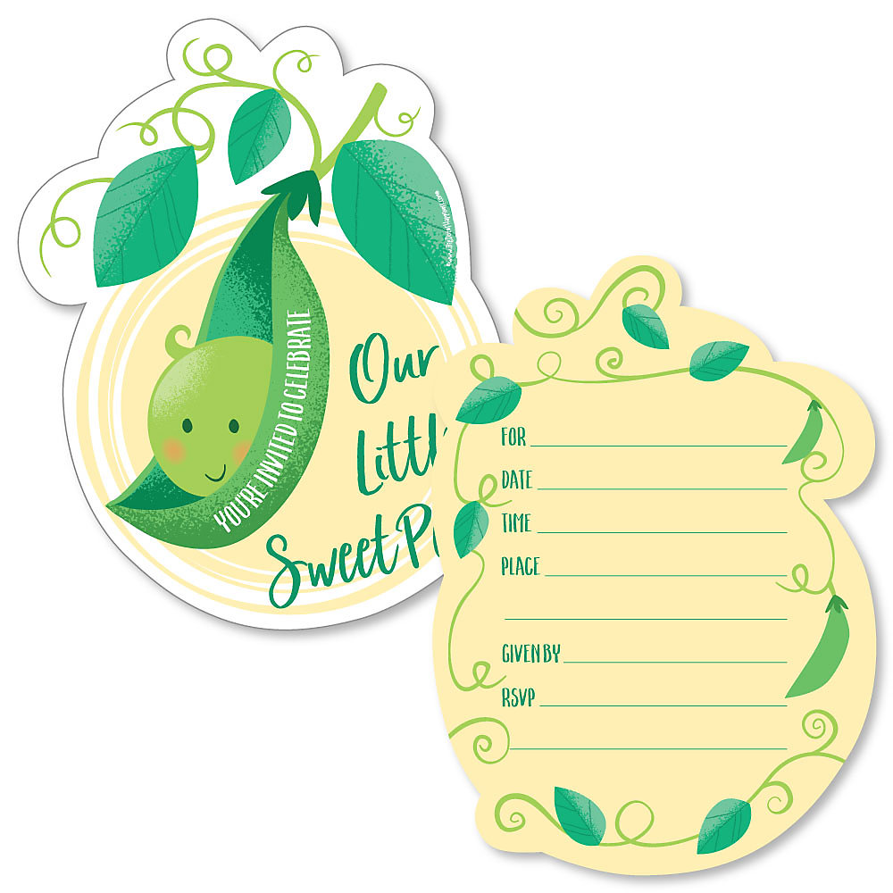 Sweet Pea In A Pod Shaped Fill Invitations Baby Shower Or First Birthday Party Invitation Cards With Envelopes Set Of 12