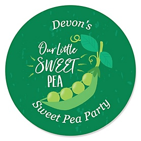Sweet Pea in a Pod - Personalized Baby Shower or First Birthday Party Sticker Labels - 24 ct