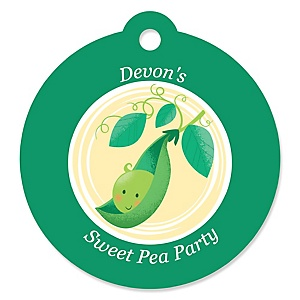 Sweet Pea in a Pod - Personalized Baby Shower or First Birthday Party Favor Gift Tags - 20 ct