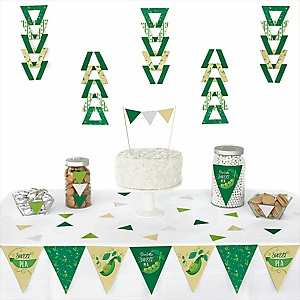 Sweet Pea in a Pod -  Triangle Baby Shower or First Birthday Party Decoration Kit - 72 Piece