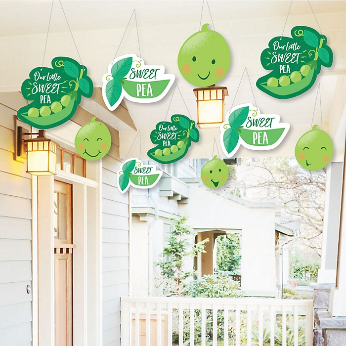 Hanging Sweet Pea in a Pod - Outdoor Baby Shower or First Birthday Party Hanging Porch & Tree Yard Decorations - 10 Pieces