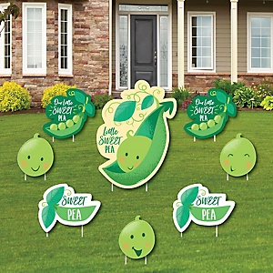 Sweet Pea in a Pod - Yard Sign & Outdoor Lawn Decorations - Baby Shower or First Birthday Party Yard Signs - Set of 8