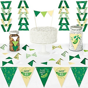 Sweet Pea in a Pod - DIY Pennant Banner Decorations - Baby Shower or First Birthday Party Triangle Kit - 99 Pieces