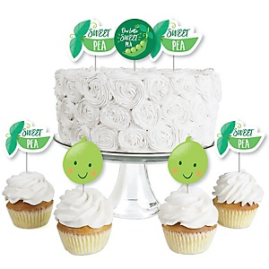 Sweet Pea in a Pod - Dessert Cupcake Toppers - Baby Shower or First Birthday Party Clear Treat Picks - Set of 24