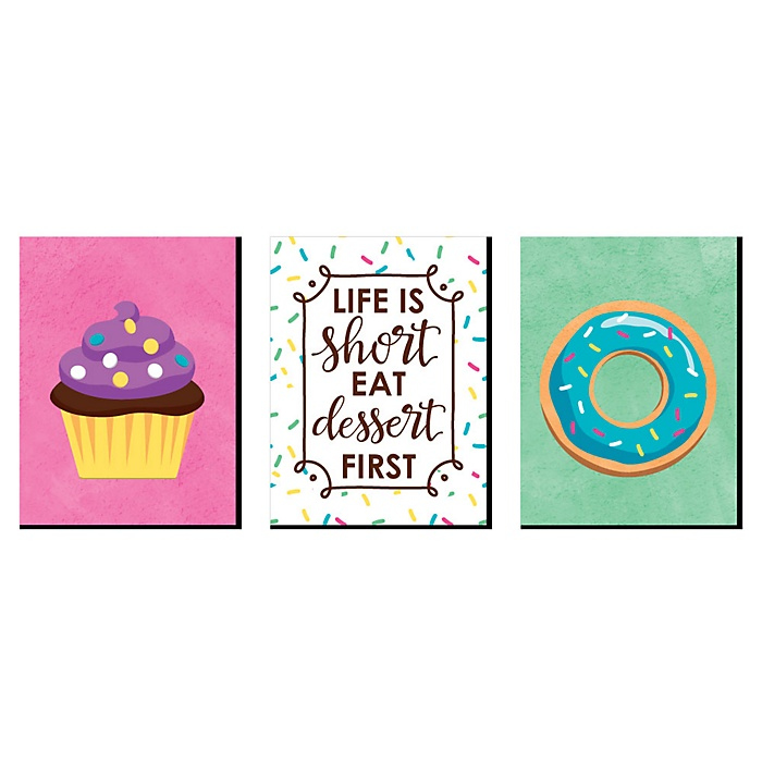 Sweet Shoppe - Cupcake Nursery Wall Art, Donut Kids Room Decor and Bakery Kitchen Home Decorations - 7.5 x 10 inches - Set of 3 Prints