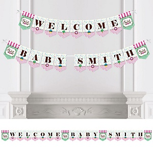 Sweet Shoppe - Personalized Candy and Bakery Birthday Party or Baby Shower Bunting Banner & Decorations