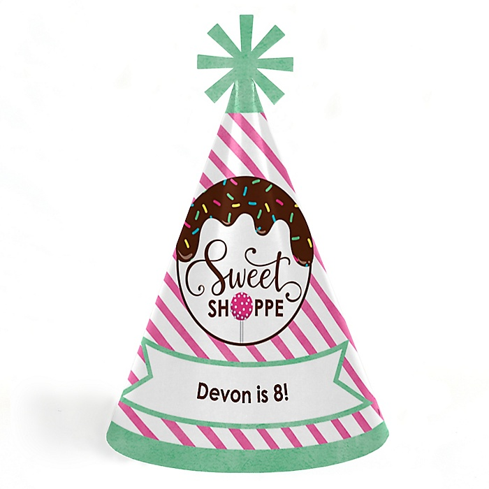 Sweet Shoppe - Personalized Cone Candy and Bakery Happy Birthday Party Hats for Kids and Adults - Set of 8 (Standard Size)