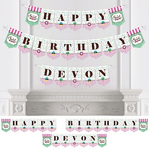 Sweet Shoppe - Personalized Candy and Bakery Birthday Party Bunting Banner & Decorations