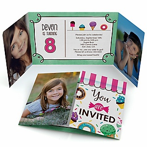 Sweet Shoppe - Personalized Candy and Bakery Birthday Party Photo Invitations - Set of 12