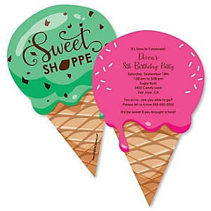 Sweet Shoppe - Shaped Candy and Bakery Birthday Party Invitations - Set of 12