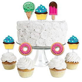 Sweet Shoppe - Dessert Cupcake Toppers - Candy and Bakery Birthday Party or Baby Shower Clear Treat Picks - Set of 24