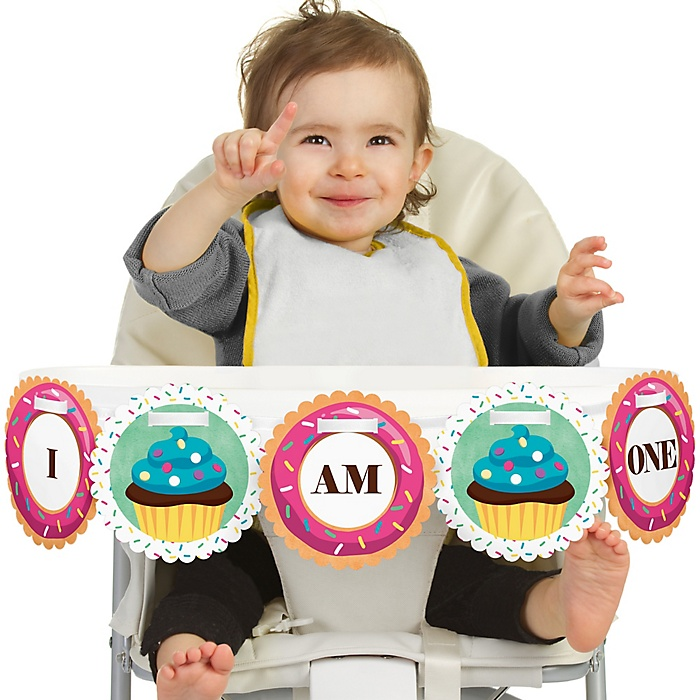 Sweet Shoppe 1st Birthday - I am One - First Candy and Bakery Birthday High Chair Banner