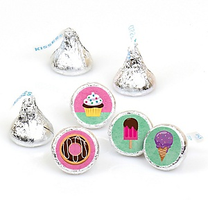 Sweet Shoppe - Candy and Bakery Birthday Party or Baby Shower Round Candy Sticker Favors - Labels Fit Hershey's Kisses (1 sheet of 108)