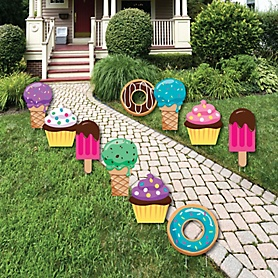 Sweet Shoppe - Donut, Ice Cream and Cupcake Lawn Decorations - Outdoor Candy and Bakery Birthday Party or Baby Shower Yard Decorations - 10 Piece