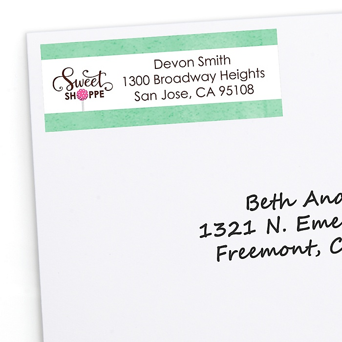 Sweet Shoppe - Personalized Candy and Bakery Birthday Party or Baby Shower Return Address Labels - 30 ct