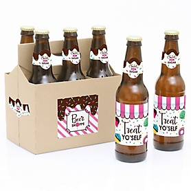 Sweet Shoppe - Decorations for Women and Men - 6 Candy and Bakery Birthday Party or Baby Shower Beer Bottle Label Stickers and 1 Carrier