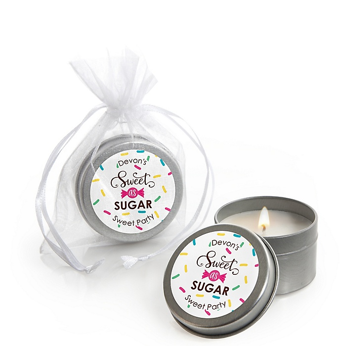 Sweet Shoppe - Personalized Candy and Bakery Birthday Party or Baby Shower Candle Tin Favors - Set of 12