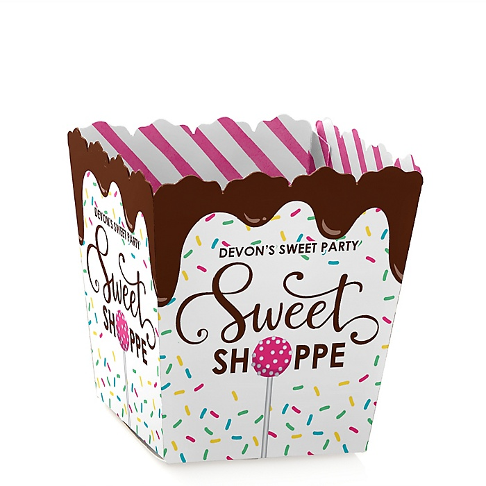 Sweet Shoppe - Party Mini Favor Boxes - Personalized Candy and Bakery Birthday Party or Baby Shower Treat Candy Boxes - Set of 12