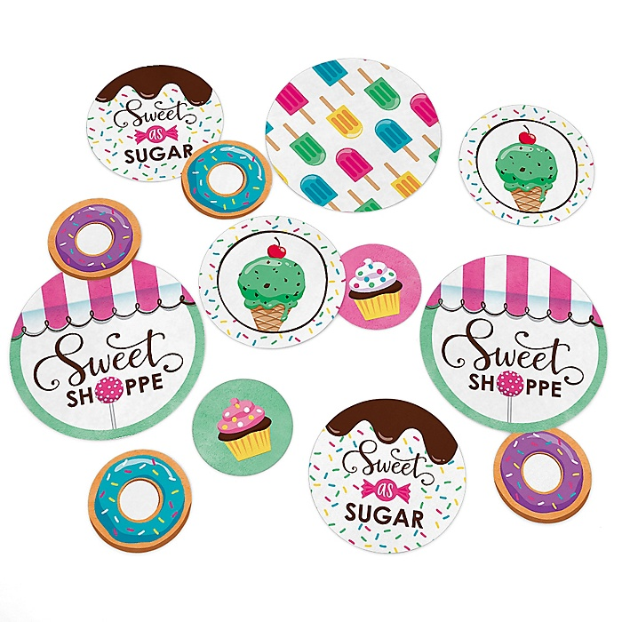 Sweet Shoppe - Candy and Bakery Birthday Party or Baby Shower Giant Circle Confetti - Party Decorations - Large Confetti 27 Count