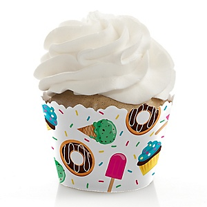 Sweet Shoppe - Candy and Bakery Birthday Party or Baby Shower Decorations - Party Cupcake Wrappers - Set of 12