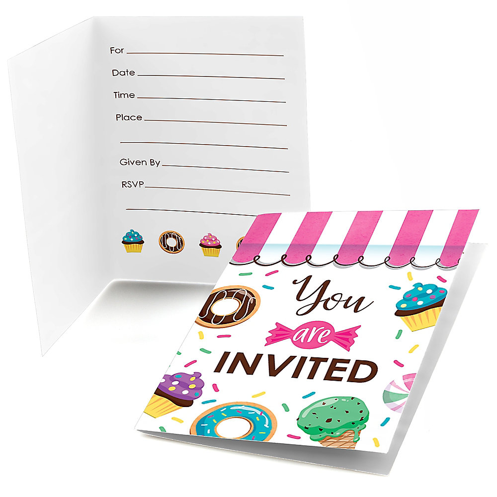 Sweet Pe Fill In Candy And Bakery Birthday Party Or Baby Shower Invitations 8 Ct