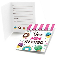 Baby shower fill in invitations thank you cards sweet shoppe fill in candy and bakery birthday party or baby shower invitations 8 ct filmwisefo