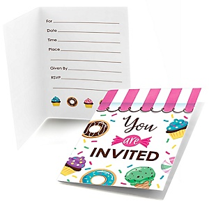 Sweet Shoppe - Fill In Candy and Bakery Birthday Party or Baby Shower Invitations  - 8 ct
