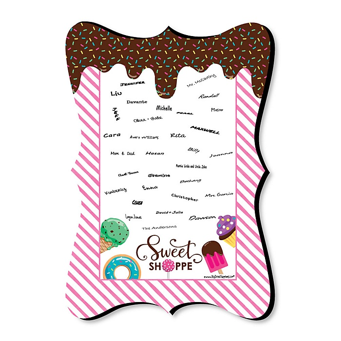 Sweet Shoppe - Unique Alternative Guest Book - Candy and Bakery Birthday Party or Baby Shower Signature Mat