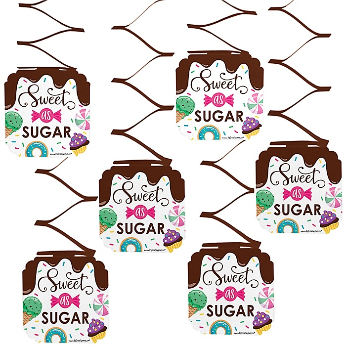 Sweet Shoppe - Candy and Bakery Birthday Party or Baby Shower Hanging Decorations - 6 ct