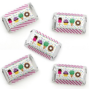 Sweet Shoppe - Mini Candy Bar Wrapper Stickers - Candy and Bakery Birthday Party or Baby Shower Small Favors - 40 Count