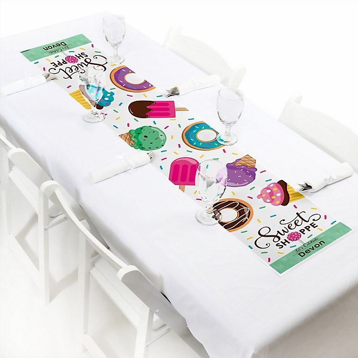 """Sweet Shoppe - Personalized Petite Candy and Bakery Birthday Party or Baby Shower Table Runner - 12"""" x 60"""""""