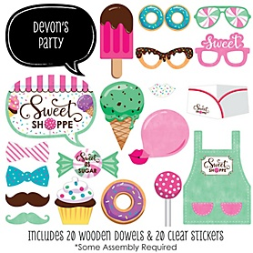 Sweet Shoppe - 20 Piece Candy and Bakery Birthday Party or Baby Shower Photo Booth Props Kit