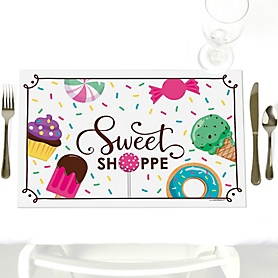 Sweet Shoppe - Party Table Decorations - Candy and Bakery Birthday Party or Baby Shower Placemats - Set of 12