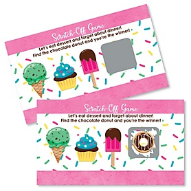 Sweet Shoppe - Candy and Bakery Birthday Party or Baby Shower Scratch Off Cards - 22 Cards