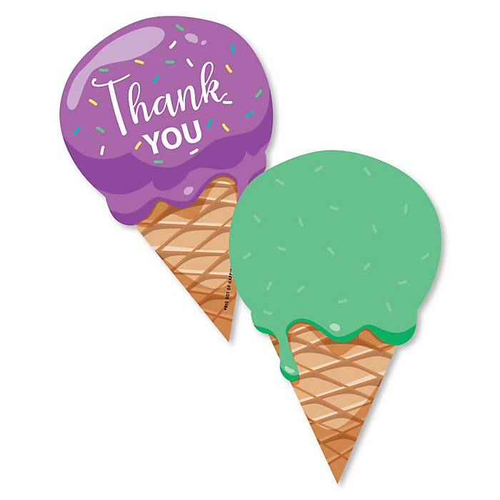 Sweet Shoppe - Shaped Thank You Cards - Candy and Bakery Birthday Party or Baby Shower Thank You Note Cards with Envelopes - Set of 12