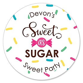 Sweet Shoppe - Personalized Candy and Bakery Birthday Party or Baby Shower Sticker Labels - 24 ct