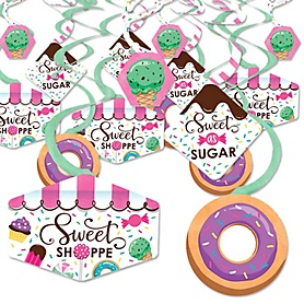 Sweet Shoppe - Candy and Bakery Birthday Party or Baby Shower Hanging Decor - Party Decoration Swirls - Set of 40