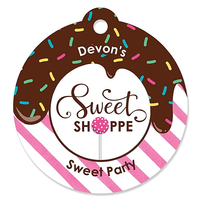 Sweet Shoppe - Personalized Candy and Bakery Birthday Party or Baby Shower Favor Gift Tags  - 20 ct