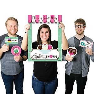 Sweet Shoppe - Personalized Candy and Bakery Birthday Party or Baby Shower Selfie Photo Booth Picture Frame & Props - Printed on Sturdy Material