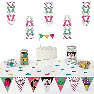 Sweet Shoppe -  Triangle Candy and Bakery Birthday Party or Baby Shower Decoration Kit - 72 Piece