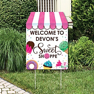 Sweet Shoppe - Party Decorations - Candy and Bakery Birthday Party or Baby Shower Personalized Welcome Yard Sign