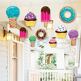Hanging Sweet Shoppe - Outdoor Candy and Bakery Birthday Party or Baby Shower Hanging Porch & Tree Yard Decorations - 10 Pieces
