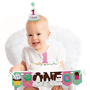 Sweet Shoppe 1st Birthday - First Birthday Girl Smash Cake Decorating Kit - Candy and Bakery High Chair Decorations