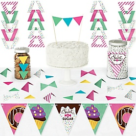 Sweet Shoppe - DIY Pennant Banner Decorations - Candy and Bakery Birthday Party or Baby Shower Triangle Kit - 99 Pieces